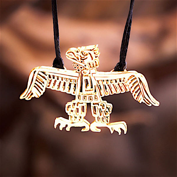 14k Gold, Native American Eagle Pendant