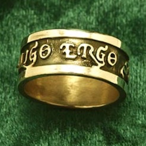 Diligo Ergo Sum Ring in 14k Gold