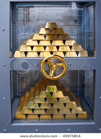 Gold Bars Inside Safe