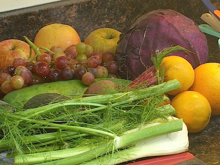 Fruits and Vegetables for Wholeness: apples, beet, fennel, grapes, red cabbage, oranges